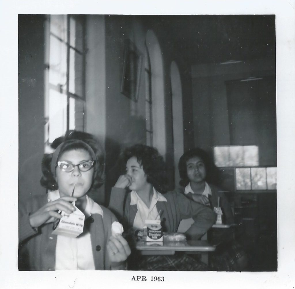 Norma eating lunch in a classroom